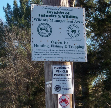 Division of Fish and Wildlife sign at Burrage Wildlife Management area