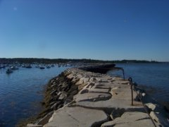 looking in from the end of  the plymouth harbor breakwater