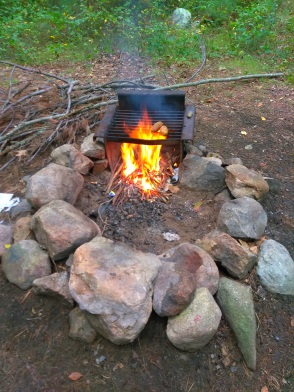 Camp fire at Wompatuck State Park