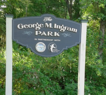 Sign announcing the George Ingram Park in Cohasset.