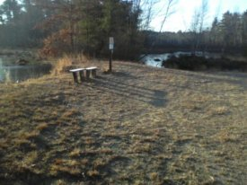 rustic bench at corner of cranberry bog