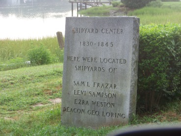 sign commemorating early shipyards in Duxbury