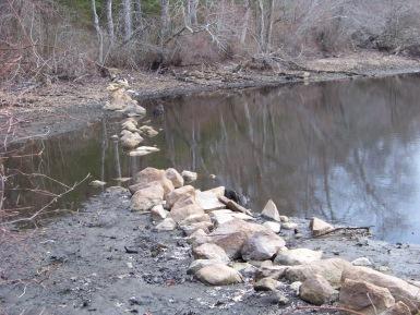 rock wall thru a pond