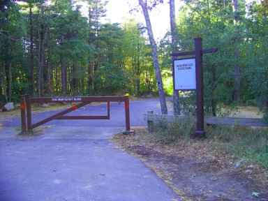 Mount Blue St entrance of Wompatuck State Park in Norwell.