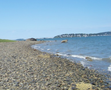 Scenic rocky shore beach on Bumpkin Island.