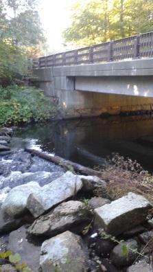 Indian Head River flowing beneath the Robert Hammond Bridge in Hanson