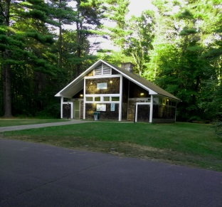 Yarrow Bath house at Wompatuck State Park Campground.