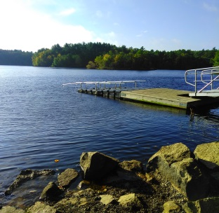 Dock at the boat ramp in Wompatuck State Park.