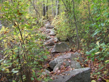 original stone wall  hiking trail