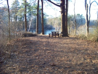picnic table at cleveland pond in ames nowell
