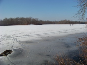 skating couple on cleveland pond