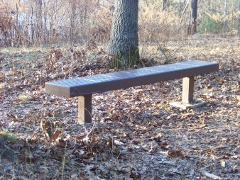 former bench at scenic area on dog walk trail