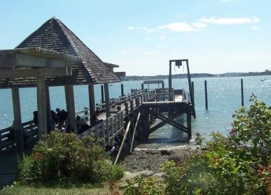 Boat pier at Bumpkin Island.