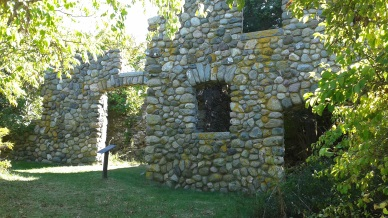 Remains of an old stone farm house on Bumpkin Island.