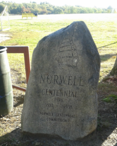 ornamental boulder at Centennial Park in Norwell