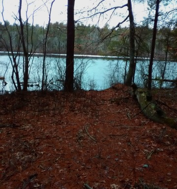The hiking trail that leads out to the far end of Pine Brook Reservoir.