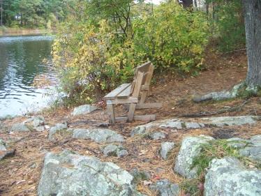 bench at cushing point on cushing pond in hingham