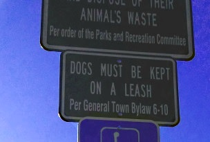 Sign at Forge Pond Park reminding dog owners of their responsibility.