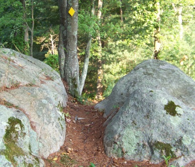 The Mack Trail leads between two boulders on its descent from the rocky outcropping observation area.