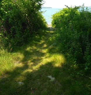 Hiking trail leads out to a beach