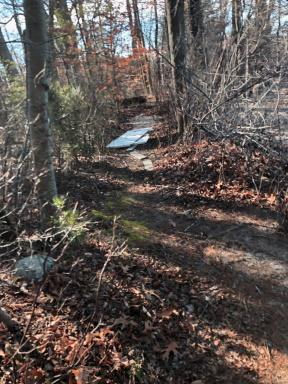 makeshift planking along a narrow trail