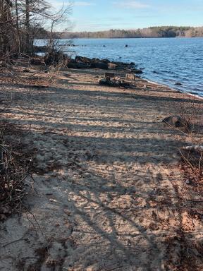 Sandy beach along Great Pond