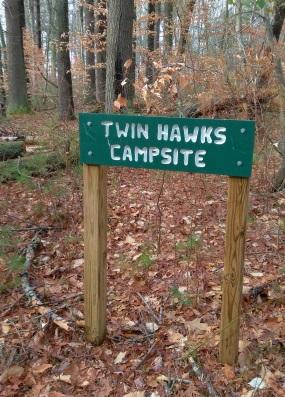 Twin Hawks Campsite sign.