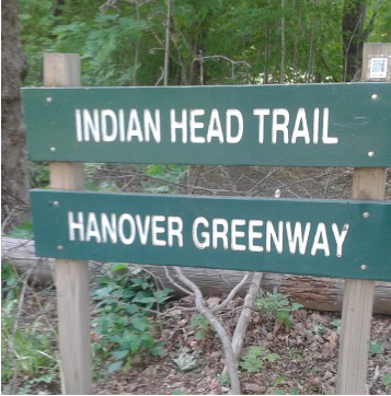 The Indian Head Trail Sign on Broadway St in Hanover