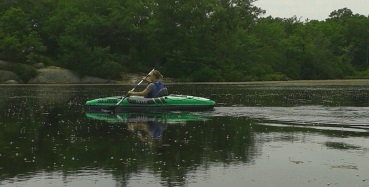 Inflatable kayak on Cleveland Pond in Abington