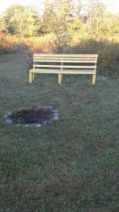 bench and campfire at lower end of Centennial Park