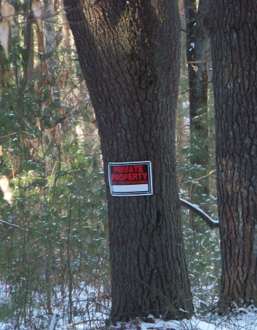 private property sign at mckenna marsh