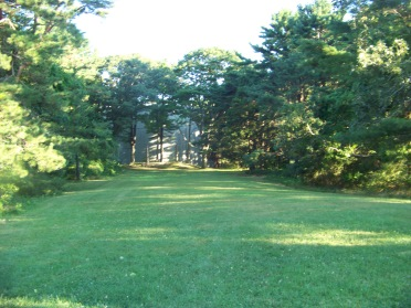 large lawn behind the myles standish monument in Duxbury