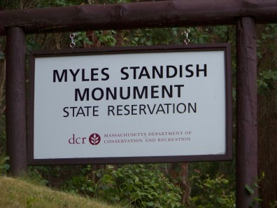sign at myles standish monument state reservation