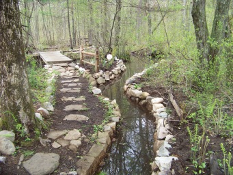 extensive trail work and water redirection in rockland town forest