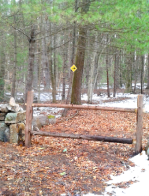 newly added rustic fence to the Rockland Town Forest