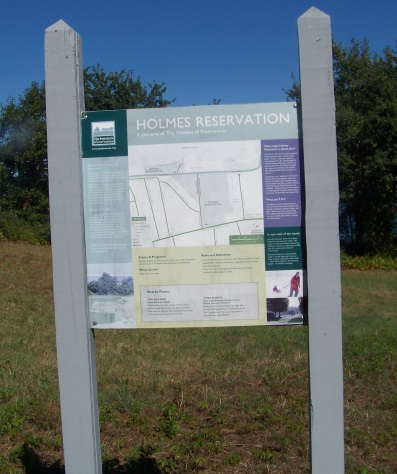 Holmes Reservation sign on the Sea Side Rail Trail