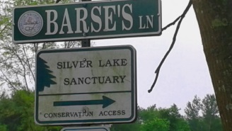 Barse's Lane in Kingston,leading to Silver Lake Sanctuary.