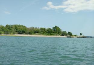 Paddling on to Slate Island.