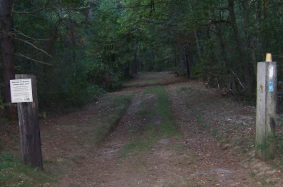 Bay Circuit Trail enters Thaddeus Chandler Sanctuary on a wide road