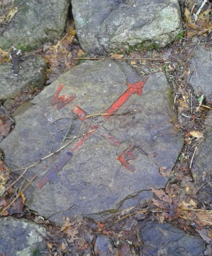 Adorned rock on the 3 bridge series on Jims trail in rockland town forest.