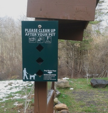 Dog waste bags at Rockland Town Forest