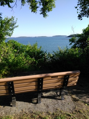 Bench with a view of Boston Harbor Islands.