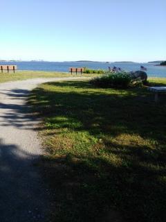 The far end of the peninsula at Webb Memorial offer views of Boston Harbor.