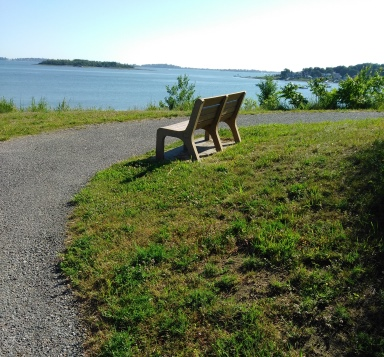 Bench on hiking trail up Mary's point.