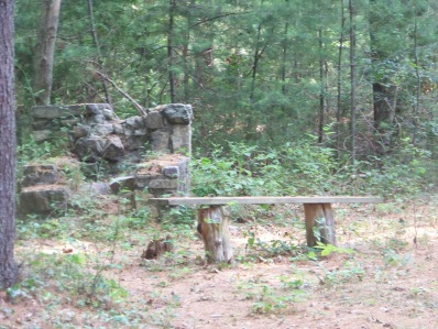remains of original fireplaces in Wheelwright Park in Cohasset