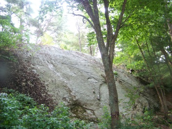 Boulder in Barnes Wildlife Sanctuary in Wheelwright Park