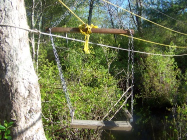 cable seat across the stream in camp wing conservation