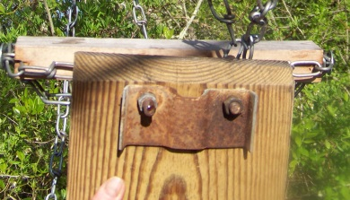 hardware securing the seat  in the camp wing conservation trails