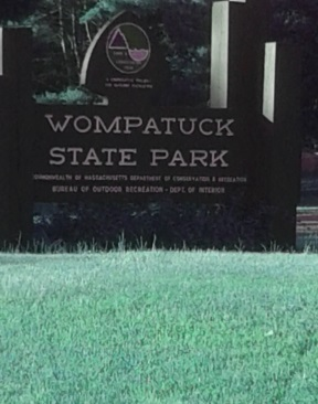 Wompatuck State Park entrance sign