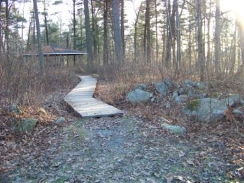 planks over wetland to gazebo at ames nowell state park